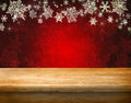 Empty table wooden for product display montages winter theme Royalty Free Stock Photos