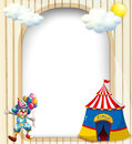 An empty template with a circus tent and a male clown illustration of Royalty Free Stock Photography