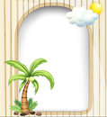 An empty template with a coconut tree illustration of Stock Image