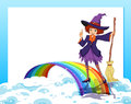 An empty template with a fairy and a rainbow illustration of Stock Image