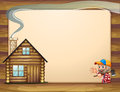 An empty template with a house and a woodman carrying an axe illustration of Royalty Free Stock Images