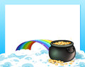 An empty template with a pot of gold and a rainbow Royalty Free Stock Photo
