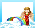 An empty template with a rainbow and an angel Royalty Free Stock Photo