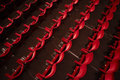 Empty theatre hall view of an with red seats in row Stock Photography