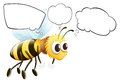Empty thoughts of a flying bee illustration the on white background Royalty Free Stock Image