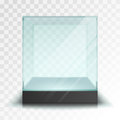 Empty transparent glass cube Royalty Free Stock Photo