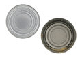 Empty tuna can with lid to the side Royalty Free Stock Photo