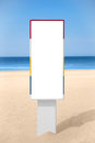 Empty vertical banner on the beach. Royalty Free Stock Photo