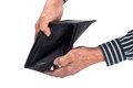 Empty wallet elderly hands holding an isolated on white background Stock Images