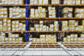 Empty warehouse shelves with defocused  background Royalty Free Stock Photo