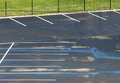 Empty wet parking places and grass Royalty Free Stock Photos