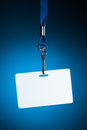 Empty white badge backdrop against blue background Royalty Free Stock Photography