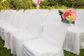 Empty white chairs in outdoor wedding Royalty Free Stock Image