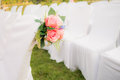Empty white chairs in outdoor wedding Royalty Free Stock Photo