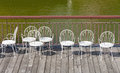 Empty white chairs Royalty Free Stock Photo