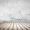 Empty white concrete interior background with wooden floor Royalty Free Stock Photo