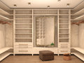 Empty white dressing room,