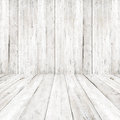 Empty a white interior of vintage room - gray wooden wall and old wood floor. Royalty Free Stock Photo