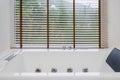 Empty white jacuzzi bath tub Royalty Free Stock Photo