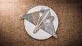 Empty white plate and  spoon, fork, knife, napkin Royalty Free Stock Photo