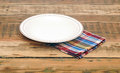 Empty white plate on wooden table Stock Photos