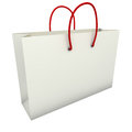 Empty white shopping bag with red handles isolated on background Royalty Free Stock Image