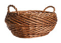 Empty wicker basket isolated over white background Stock Photo