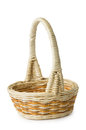Empty wicker basket on white background Stock Photo