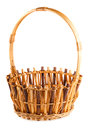 Empty wicker basket on white background Royalty Free Stock Image