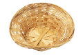 Empty wicker basket on white background Stock Images