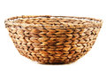 Empty wicker kitchen bowl on white background Stock Photo