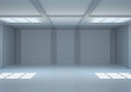 Empty wide room with windows and balks Royalty Free Stock Image