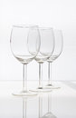 Empty wine glasses isolated on a white background Royalty Free Stock Images