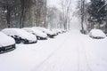 Empty winter street Royalty Free Stock Photo
