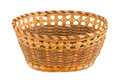 Empty wood basket isolated white background Stock Images