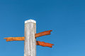 Wood carved direction signs on a beach pole Royalty Free Stock Photo