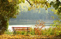 Empty wooden bench in the park Stock Images