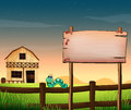 An empty wooden board across the barnhouse at the hilltop illustration of Stock Image