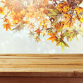 Empty wooden deck table over autumn leaves bokeh background Royalty Free Stock Photo