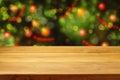 Empty Wooden Deck Table Over C...