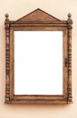 Empty wooden frame for advertisement blank and information papers Stock Photos