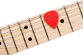 Empty wooden maple fingerboard with red pick between strings of classic shaped electric guitar closeup isolated on white Stock Photography