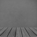 Empty Wooden Perspective Platform with Abstract Grunge Gray Wall Background Texture used as Template to Mock up for Display Produ Royalty Free Stock Photo
