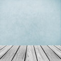 Empty Wooden Perspective Platform with Abstract Light Blue Background Texture used as Template Royalty Free Stock Photo