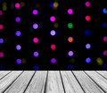 Empty Wooden Perspective Platform with Sparkling Abstract Colorful Round Light Bokeh Circles Background used as Template to Mock u Royalty Free Stock Photo