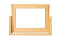 Empty wooden photo frame isolated on white background clipping path Royalty Free Stock Image