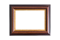 Empty wooden photo frame isolated on white. Interior decoration. Royalty Free Stock Photo
