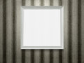 Empty wooden picture frame white at grunge striped wall with copy space and clipping path Stock Image