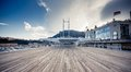 Empty wooden pier in monaco monte carlo Royalty Free Stock Photos