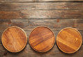 Empty wooden pizza plates with copy space Royalty Free Stock Photo